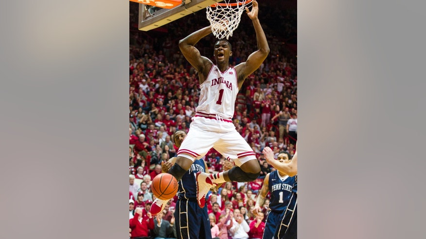 FILE - In this Feb. 12, 2014 file photo, Indiana's Noah Vonleh (1) celebrates after a slam dunk in the second half of an NCAA college basketball game against Penn State, in Bloomington, Ind. Vonleh is a possible pick in the 2014 NBA Draft, Thursday, June 26, 2014 in New York. (AP Photo/Doug McSchooler, File)