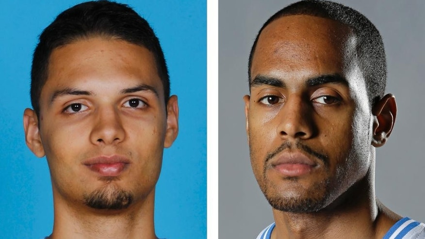 FILE - From left are Denver Nuggets NBA basketball player Evan Fournier  in a 2012 file photo and Orlando Magic player Arron Afflalo, in a 2013 file photo. A person with knowledge of the situation says the Nuggets have acquired guard Arron Afflalo from the Magic for point guard Evan Fournier and the No. 56 pick in the draft.  The person spoke to The Associated Press on condition of anonymity Thursday, June 26, 2014, because the deal has yet to be announced. (AP Photo/File)