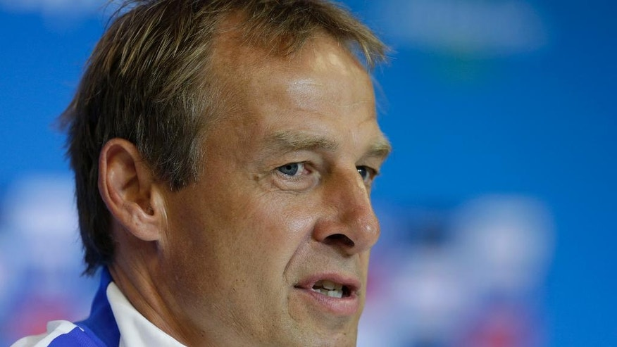 United States' head coach Jurgen Klinsmann speaks during a press conference the day before the World Cup round of 16 soccer match between Belgium and the U.S. at Arena Fonte Nova in Salvador, Brazil, Monday, June 30, 2014. (AP Photo/Julio Cortez)