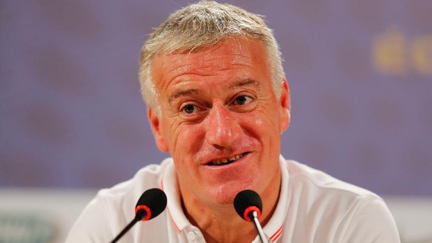 France head coach Didier Deschamps answers journalists' questions during a press conference at the Teatro Pedro II, in Ribeirao Preto, Brazil, Friday, July 1, 2014. France will face Germany in their World Cup quarterfinal, Friday. (AP Photo/David Vincent)