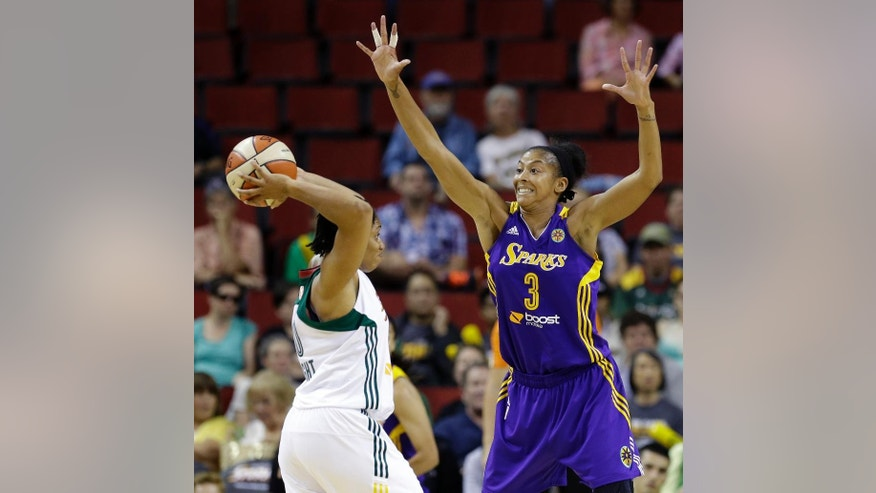 Los Angeles Sparks' Candace Parker (3) defends Seattle Storm's Tanisha Wright in the first half of a WNBA basketball game Thursday, July 3, 2014, in Seattle. (AP Photo/Elaine Thompson)