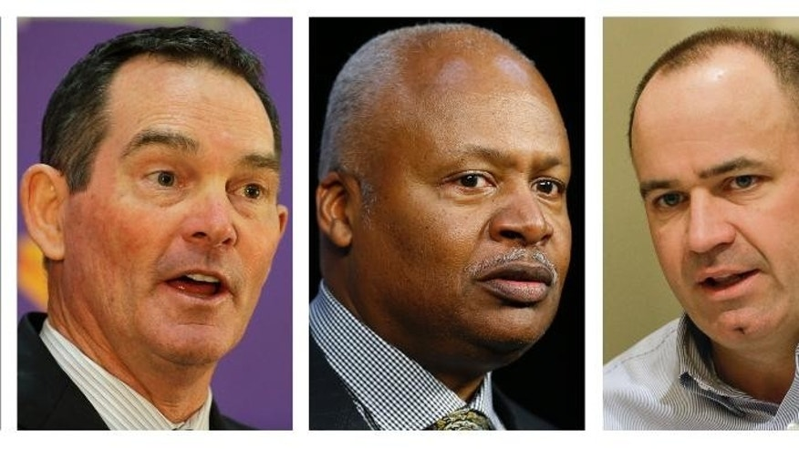 ADVANCE FOR WEEKEND EDITIONS, JULY 4-6 - FILE - From left are 2014 file photos showing Minnesota Vikings coach Mike Zimmer, Detroit Lions coach jim Caldwell, Houston Texans coach Bill O'Brien and Tampa Bay Buccaneers coach Lovie Smith. Whether it is the calm demeanor of a Lovie Smith or Jim Caldwell, the cerebral approach of Bill O'Brien or the fiery passion of Mike Zimmer, the new NFL head coaches are stamping their personalities on their teams. (AP Photo/File)