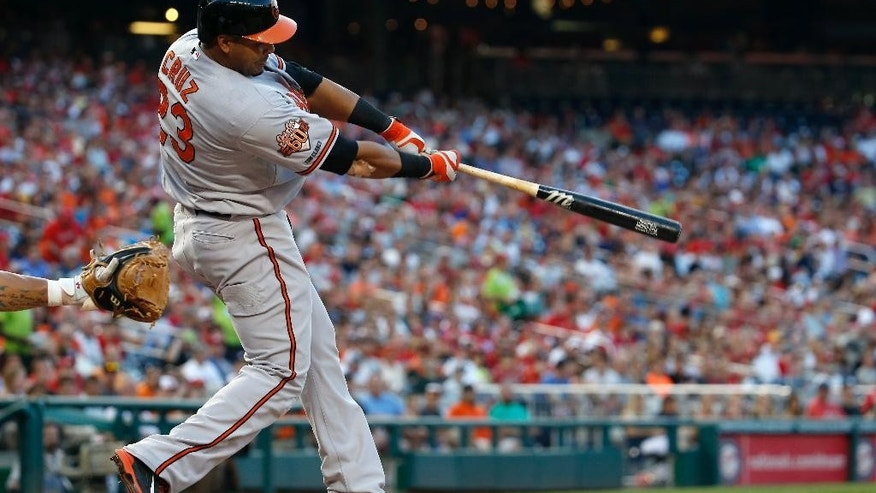 Baltimore Orioles' Nelson Cruz hits a two-run homer during the fourth inning of an interleague baseball game against the Washington Nationals at Nationals Park, Monday, July 7, 2014, in Washington. (AP Photo/Alex Brandon)