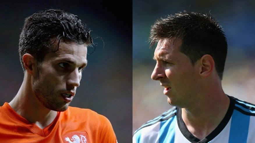 The Netherlands' Robin van Persie (left) and Argentina's Lionel Messi. (Photos: Getty Images)