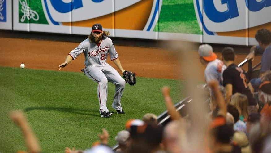 Washington Nationals right fielder Jayson Werth chases after a fly ball by Baltimore Orioles' Adam Jones in the third inning of an interleague baseball game, Thursday, July 10, 2014, in Baltimore. Jones reached second and Nick Markakis scored on the play. (AP Photo/Patrick Semansky)