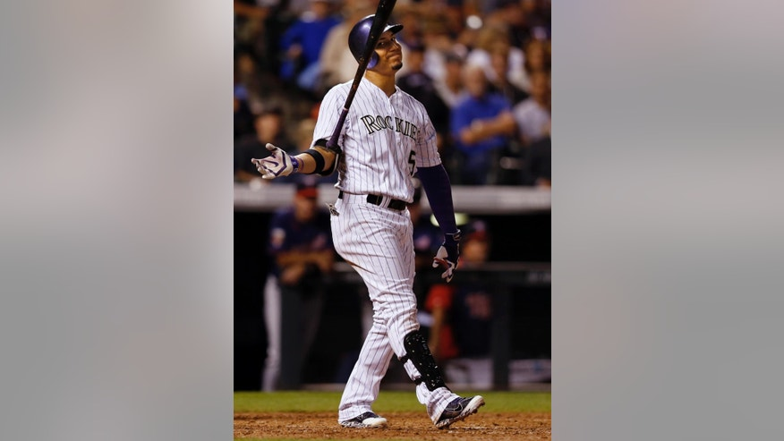 Colorado Rockies' Carlos Gonzalez reacts to striking out against the Minnesota Twins during the seventh inning of a baseball game on Friday, July 11, 2014, in Denver. (AP Photo/Jack Dempsey)