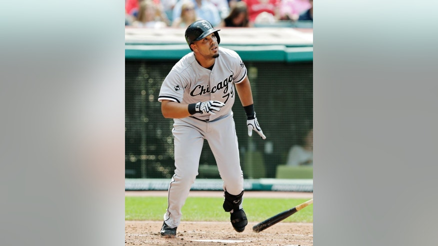 Chicago White Sox's Jose Abreu watches his two-run home run in the fourth inning of a baseball game Saturday, July 12, 2014, in Cleveland. (AP Photo/Mark Duncan)