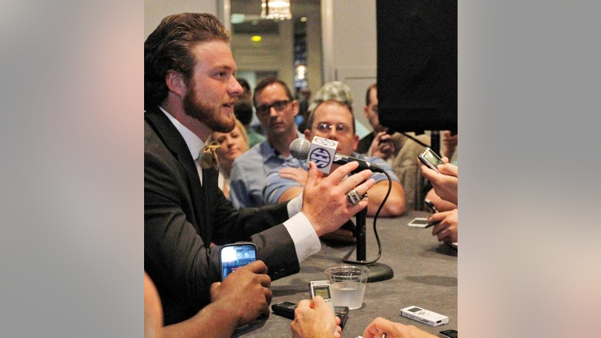 Missouri quarterback Maty Mauk speaks to the media at the Southeastern Conference NCAA college football media days, Wednesday, July 16, 2014, in Hoover, Ala. (AP Photo/Butch Dill)