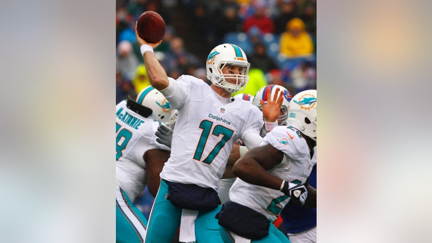 File-This Dec. 22, 2013, file photo shows Miami Dolphins quarterback Ryan Tannehill (17) passing against the Buffalo Bills during the first half of an NFL football game on in Orchard Park, N.Y. The Dolphins' 17th starting quarterback since Dan Marino, Tannehill has given the team stability at the position, starting all 32 games in his first two NFL seasons.  But if Tannehill's to keep his job, he needs to improve on his 15-17 record. He knows it. (AP Photo/Bill Wippert, File)
