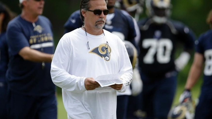 FILE - In this June 6, 2014 file photo, St. Louis Rams head coach Jeff Fisher watches during an organized team activity at the NFL football team's practice facility in St. Louis. (AP Photo/Jeff Roberson, File)