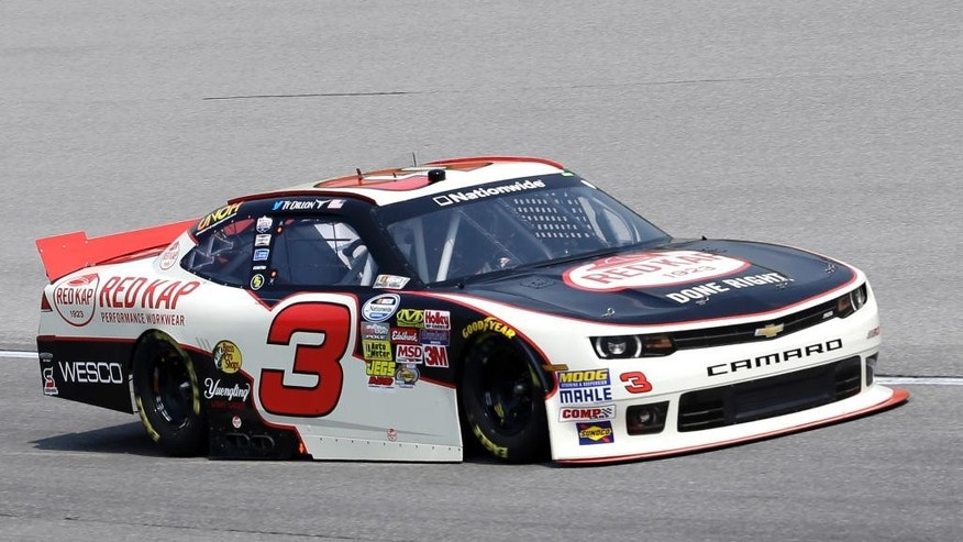 Ty Dillon drives his car during qualifying for the NASCAR Nationwide Series auto race at Chicagoland Speedway in Joliet, Ill., Saturday, July 19, 2014. (AP Photo/Nam Y. Huh)
