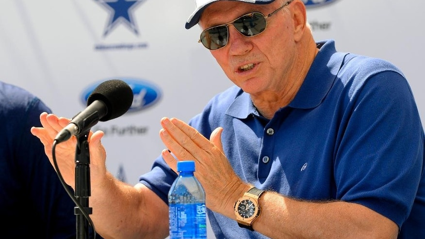 "Dallas Cowboys owner Jerry Jones speaks at the ""State of the team"" news conference during NFL football training camp on Wednesday, July 23, 2014, in Oxnard, Calif. (AP Photo/Gus Ruelas)"