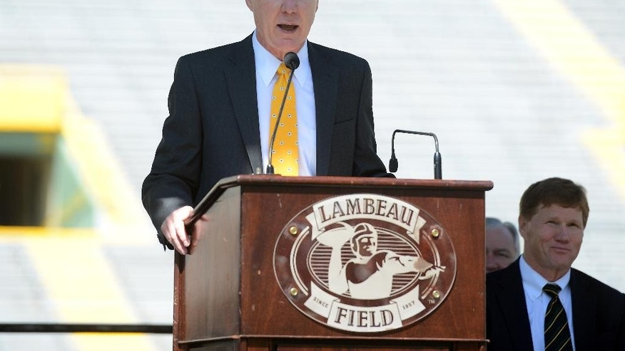 Green Bay Packers general manager Ted Thompson addresses shareholders from the stage during the NFL football team's annual shareholders meeting at Lambeau Field, Thursday, July 24 2014, in Green Bay, Wis. (AP Photo/The Green Bay Press-Gazette, Jim Matthews) NO SALES