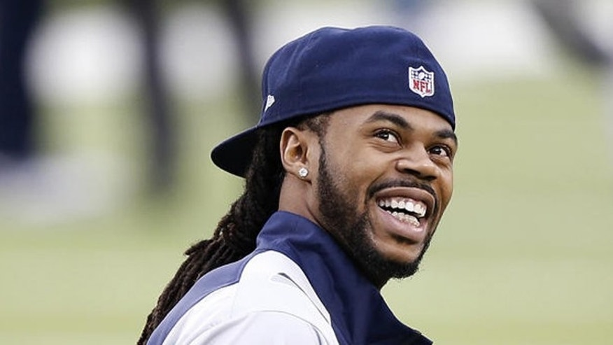 Feb. 2, 2014: Seattle Seahawks' Sidney Rice smiles before the NFL Super Bowl XLVIII football game against the Denver Broncos in East Rutherford, N.J. (AP/Kathy Willens)