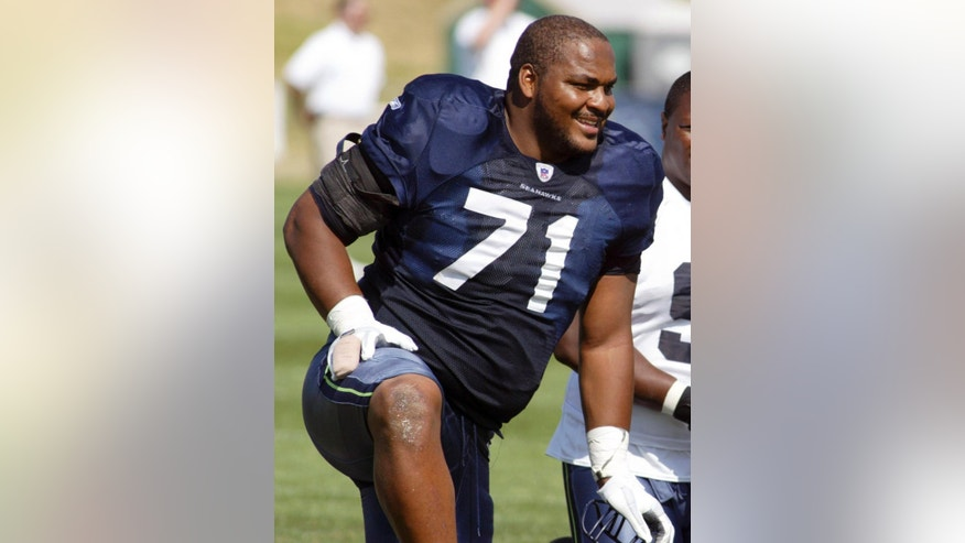 FILE - In this Aug. 15, 2006, file photo, Seattle Seahawks offensive tackle Walter Jones smiles along the sidelines during NFL football training camp at Eastern Washington University in Cheney, Wash. Jones will be inducted into the Pro Football Hall of Fame in Canton, Ohio on Saturday, Aug. 2, 2014.  (AP Photo/Jim Bryant, File)