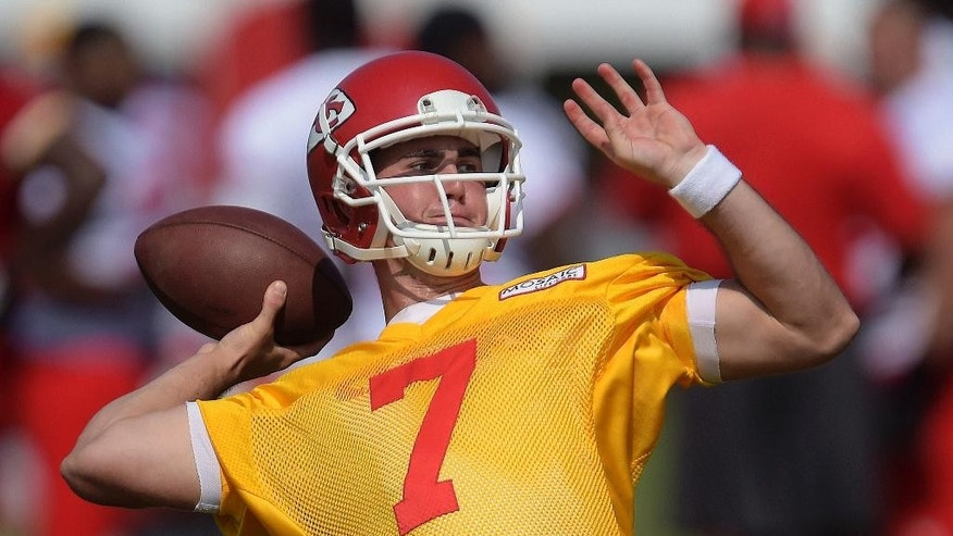 Kansas City Chiefs quarterback Aaron Murray (7) looks to throw during practice Friday, July 25, 2014, in St. Joseph, Mo. (AP Photo/The St. Joseph News-Press, Todd Weddle)