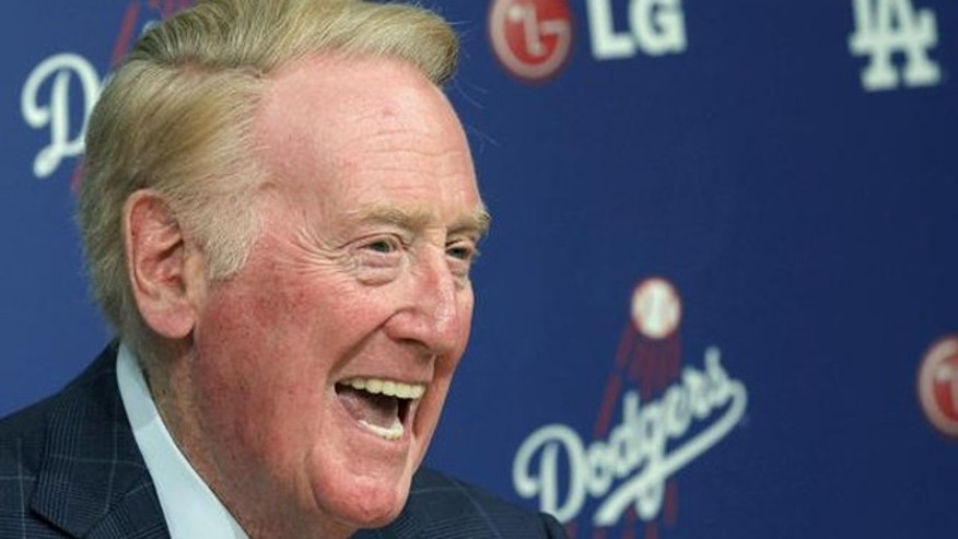 Dodgers broadcaster Vin Scully has called the team's games since 1950 (AP)