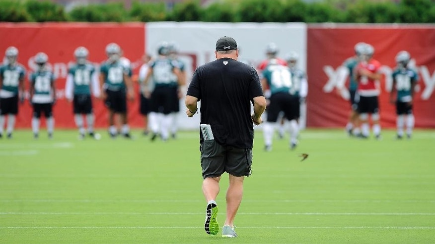 Philadelphia Eagles head coach Chip Kelly takes the field at the start of NFL football training camp on Saturday, July 26, 2014, in Philadelphia. (AP Photo/Michael Perez)