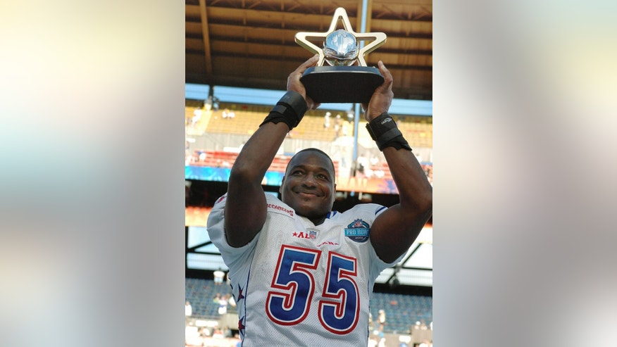 FILE - In this Feb. 12, 2006 file photo, NFC Tampa Bay Buccaneers linebacker Derrick Brooks holds up the Pro Bowl MVP trophy following the NFC's 23-17 win over the AFC in the NFL football Pro Bowl at Aloha Stadium in Honolulu. Brooks will be inducted into the Pro Football Hall of Fame Saturday, Aug. 2, 2014, in Canton, Ohio.(AP Photo/Ronen Zilberman, File)