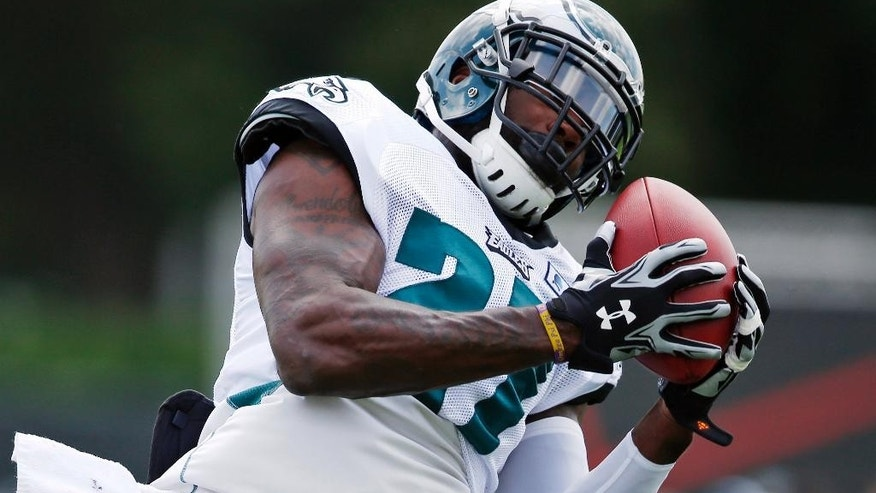 Philadelphia Eagles free safety Malcolm Jenkins catches a pass during NFL football training camp Monday, Aug. 4, 2014, in Philadelphia. (AP Photo/Matt Rourke)