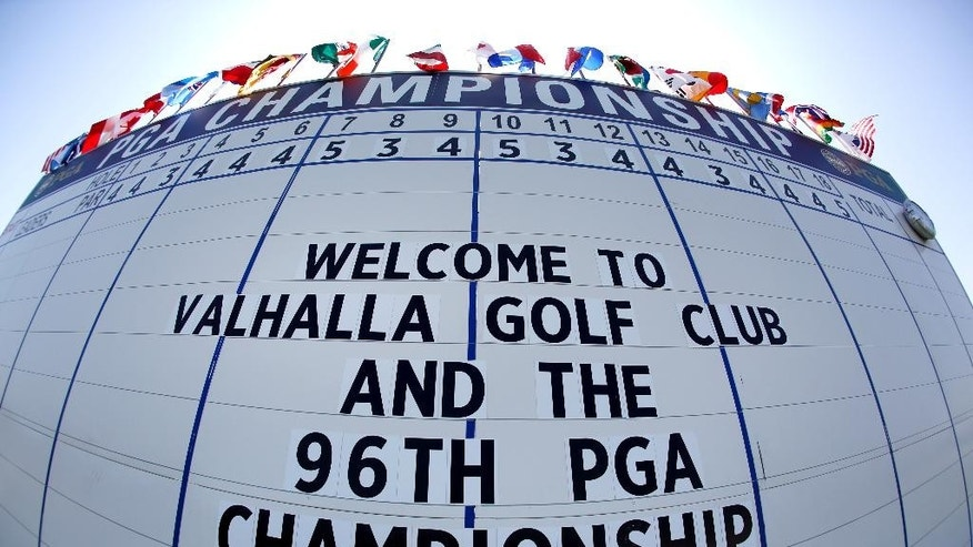 In this photo made with a fisheye lens, the leaderboard on the 18th hole offers a greeting to fans at the PGA Championship golf tournament at Valhalla Golf Club Monday, Aug. 4, 2014, in Louisville, Ky. The tournament is set to begin on Thursday. (AP Photo/Jeff Roberson)