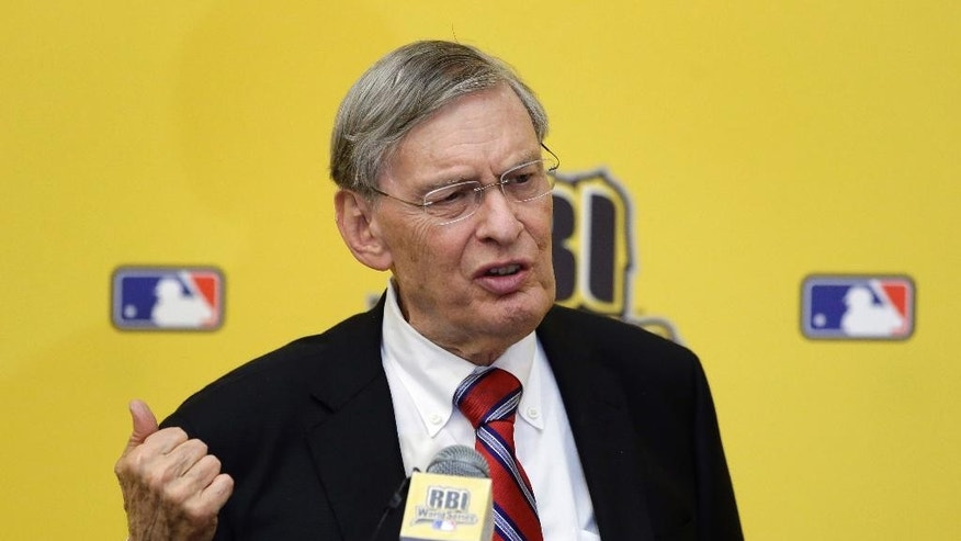 Baseball Commissioner Bud Selig speaks at the 2014 Reviving Baseball in Inner Cities World Series luncheon, Wednesday, Aug. 6, 2014, in Grapevine, Texas. (AP Photo/Tony Gutierrez)