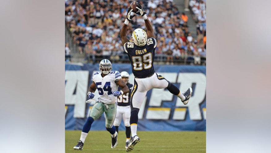 San Diego Chargers tight end Ladarius Green goes up high to catch a pass in front of Dallas Cowboys outside linebacker Bruce Carter during the first half of a preseason NFL football game Thursday, Aug. 7, 2014, in San Diego. (AP Photo/Jae C. Hong)