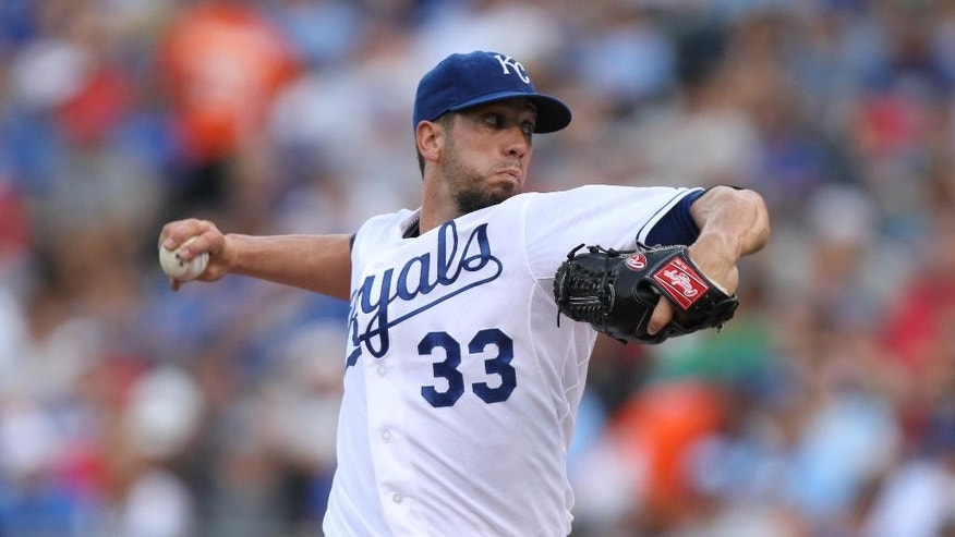 Kansas City Royals starting pitcher James Shields throws in the first inning during a baseball game against the San Francisco Giants, Saturday, Aug. 9, 2014, in Kansas City, Mo. (AP Photo/Ed Zurga)