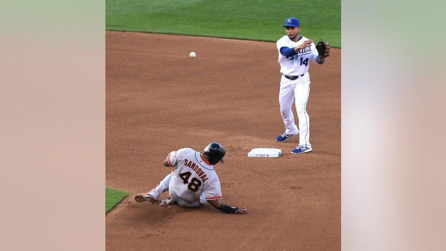 Kansas City Royals second baseman Omar Infante (14) throws to first over San Francisco Giants' Pablo Sandoval (48) to complete a double play in the fourth inning during a baseball game Saturday, Aug. 9, 2014, in Kansas City, Mo. Giants' Michael Morse was out at first on the play. (AP Photo/Ed Zurga)