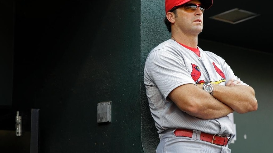 St. Louis Cardinals manager Mike Matheny watches from the dugout in the third inning of an interleague baseball game against the Baltimore Orioles, Saturday, Aug. 9, 2014, in Baltimore. (AP Photo/Patrick Semansky)