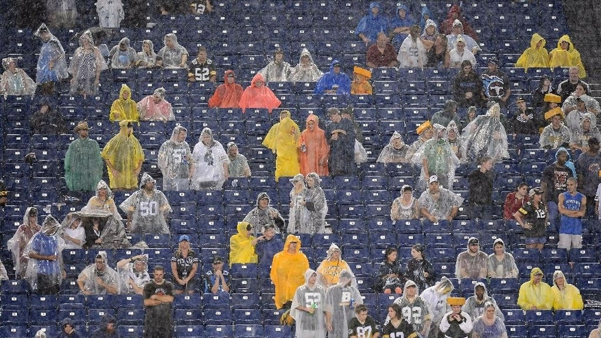 Fans watch in the rain as the Tennessee Titans and the Green Bay Packers play in the third quarter of a preseason NFL football game Saturday, Aug. 9, 2014, in Nashville, Tenn. (AP Photo/Mark Zaleski)
