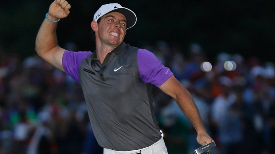 Aug. 10, 2014: Rory McIlroy, of Northern Ireland, celebrates after winning the PGA Championship golf tournament at Valhalla Golf Club in Louisville, Kentucky.