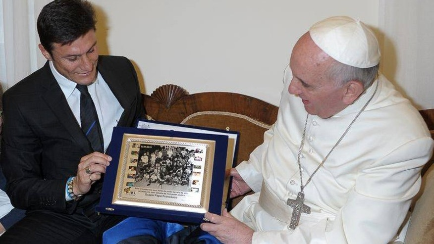 "Javier ""Pupi"" Zanetti met with Pope Francis in April of 2013."