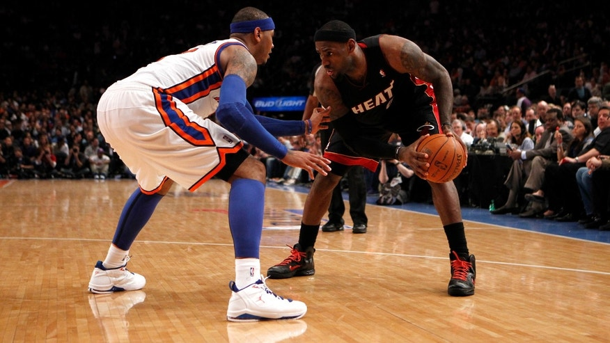 LeBron James and Carmelo Anthony in the 2012 NBA Playoffs on May 6, 2012 at Madison Square Garden in New York City.