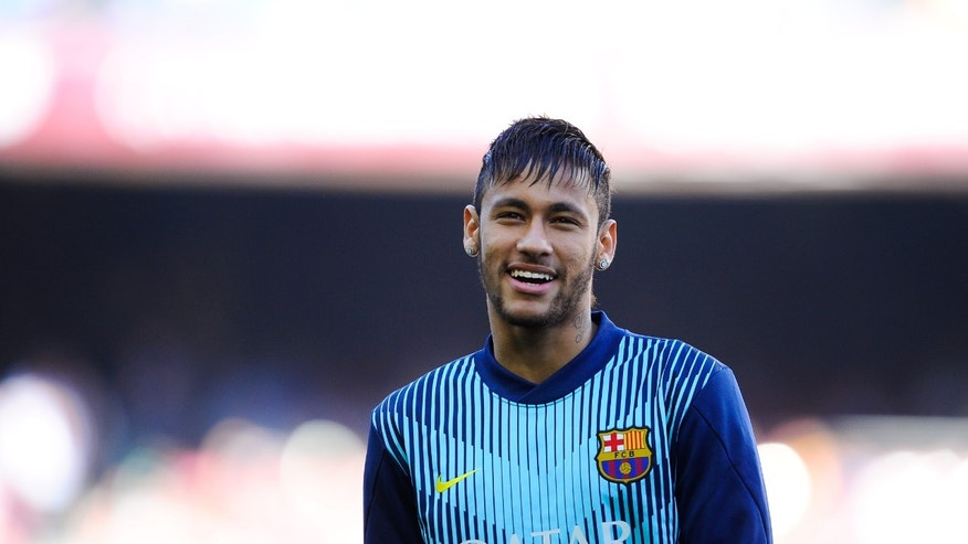 BARCELONA, SPAIN - APRIL 05:  Neymar of FC Barcelona looks on  during warm up prior to the La Liga match between FC Barcelona and Real Betis Balompie at Camp Nou on April 5, 2014 in Barcelona, Spain.  (Photo by David Ramos/Getty Images)