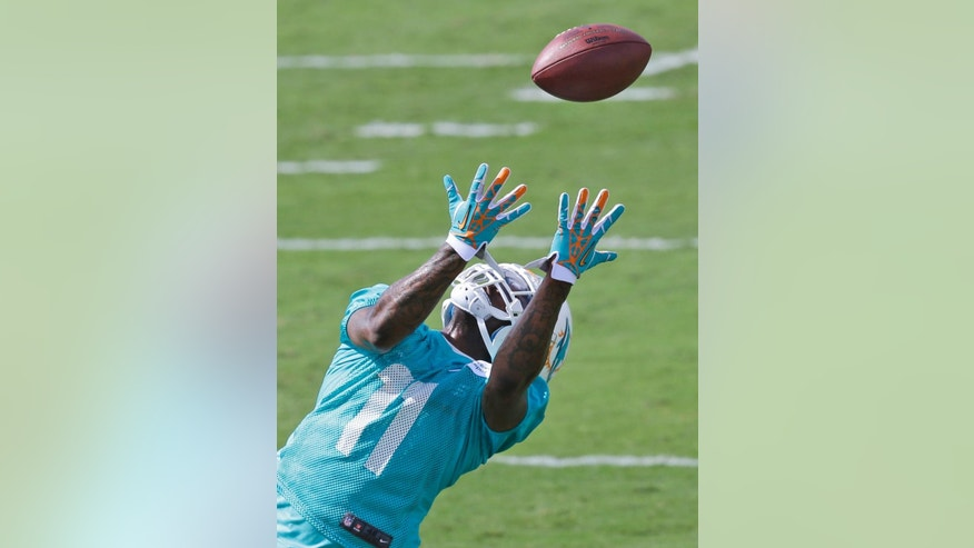 FILE - In this June 19, 2014, file photo, Miami Dolphins wide receiver Mike Wallace catches the ball during drills on the final day of their minicamp in Davie, Fla. Wallace was repeatedly open deep last season, and if quarterback Ryan Tannehill could connect with him more consistently, it would give the Miami Dolphins' offense a much-needed boost. (AP Photo/Wilfredo Lee, File)