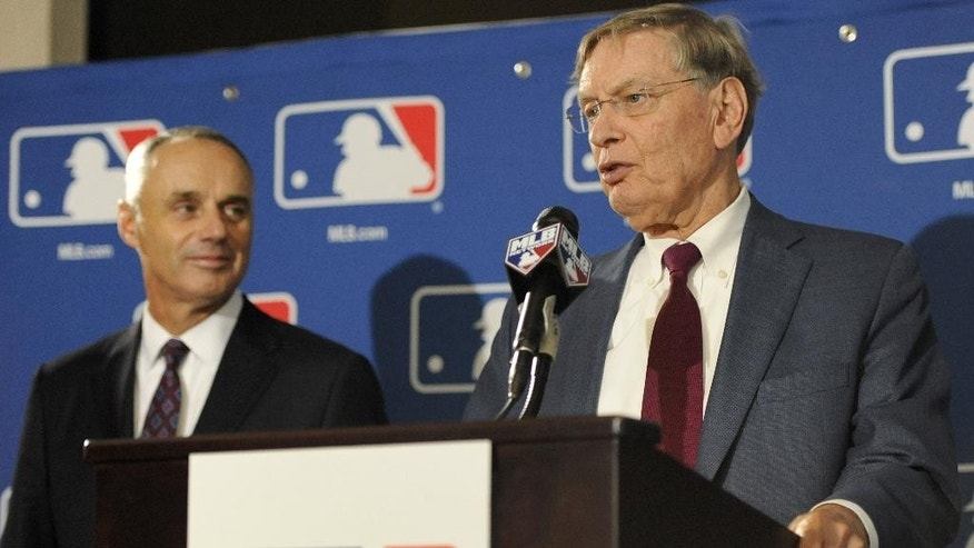 "Major League Baseball Commissioner Allan H. ""Bud"" Selig, right, and Major League Baseball Chief Operating Officer Rob Manfred speak to reporters after team owners elected Manfred as the next commissioner of Major League Baseball during an owners quarterly meeting in Baltimore, Thursday, Aug. 14, 2014. (AP Photo/Steve Ruark)"