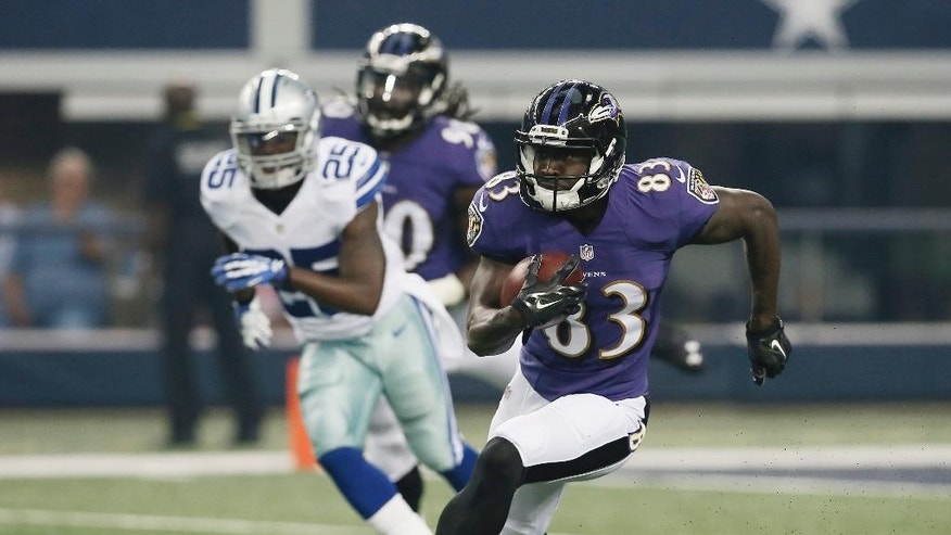 Baltimore Ravens wide receiver Deonte Thompson (83) runs with the ball during the first half of an NFL preseason football game against the Dallas Cowboys, Saturday, Aug. 16, 2014, in Arlington, Texas. (AP Photo/Brandon Wade)
