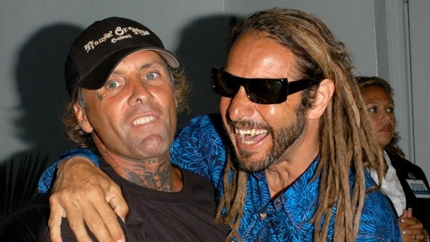 "HOLLYWOOD - MAY 24:  Original Z-Boys pro-skaters Tony Alva (R) and Jay Adams arrive at the Premiere of TriStar Pictures ""Lords Of Dogtown"" at the Mann's Chinese Theater on May 24, 2005 in Hollywood, California.  (Photo by Stephen Shugerman/Getty Images)"