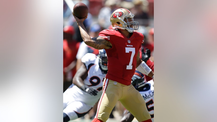 San Francisco 49ers quarterback Colin Kaepernick (7) passes against the Denver Broncos during the first half of an NFL preseason football game in Santa Clara, Calif., Sunday, Aug. 17, 2014. (AP Photo/Ben Margot)