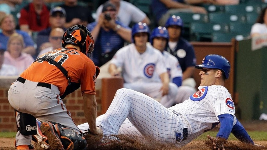 Baltimore Orioles catcher Nick Hundley (40), left, tags out Chicago Cubs' Anthony Rizzo (44) at home during the seventh inning of an interleague baseball game in Chicago, Saturday, Aug. 23, 2014. (AP Photo/Nam Y. Huh)