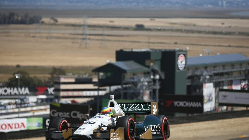 Mike Conway takes a turn during the GoPro Grand Prix of Sonoma IndyCar series auto race, Sunday, Aug. 24, 2014, in Sonoma, Calif. (AP Photo/Elijah Nouvelage)
