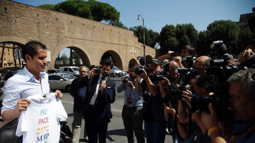 Italian soccer team Lazio midfielder Cristian Daniel Ledesma in Rome, Monday, Aug. 25, 2014.