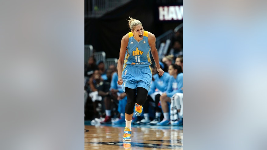 Chicago Sky guard/forward Elena Delle Donne (11) reacts after hitting a game-tying basket late  in the second half of Game 3 of the WNBA basketball Eastern Conference semifinals against the Atlanta Dream  Tuesday, Aug. 26, 2014, in Atlanta. Chicago won 81-80. (AP Photo/John Bazemore)