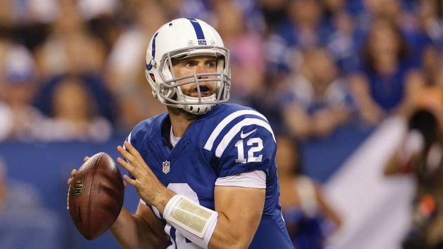 In this Aug. 23, 2014, photo, Indianapolis Colts quarterback Andrew Luck throws against the New Orleans Saints during the first half of an NFL preseason football game in Indianapolis. The Colts are giving Andrew Luck a new option -- running the no-huddle offense. And it could be just what Indianapolis needs to finally fulfill its Super Bowl aspirations(AP Photo/AJ Mast, File)