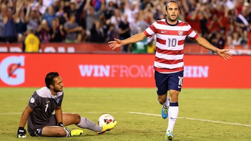 SAN DIEGO, CA - JULY 05:  Landon Donovan #10 of the USA celebrates after converting a penalty kick, as goalkeeper Ricardo Jerez #1 of Guatemala looks on in the second half at Qualcomm Stadium on July 5, 2013 in San Diego, California.  (Photo by Jeff Gross/Getty Images)