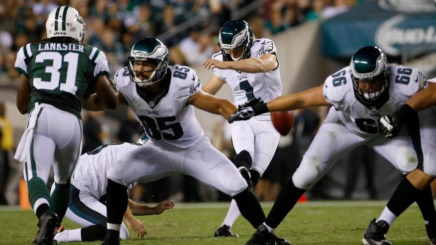 Philadelphia Eagles' Cody Parkey kicks a field goal during the first half of an NFL preseason football game against the New York Jets, Thursday, Aug. 28, 2014, in Philadelphia. (AP Photo/Michael Perez)