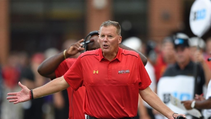 Maryland head coach Randy Edsall gestures during the second half of an NCAA college football game against James Madison, Saturday, Aug. 30, 2014, in College Park, Md. Maryland won 52-7. (AP Photo/Nick Wass)
