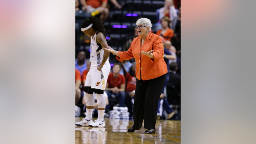 Indiana Fever coach Lin Dunn gets a technical foul as she complains about a call during the second half of Game 3 of the WNBA Eastern Conference basketball finals against the Chicago Sky in Indianapolis, Wednesday, Sept. 3, 2014. The Sky defeated the Fever 75-62 to advance to the WNBA Finals. (AP Photo/Michael Conroy)