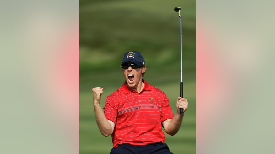 FILE - In this Sept. 21, 2008, file photo, USA's Hunter Mahan reacts after sinking a long putt on the 17th hole during the final round of the Ryder Cup golf tournament at the Valhalla Golf Club, in Louisville, Ky. Ryder Cup captain Tom Watson announces his wild-card selections for the American team, Tuesday, Sept. 2, 2014, with Keegan Bradley, Hunter Mahan, Webb Simpson and Chris Kirk among the favorites. (AP Photo/Rob Carr, File)